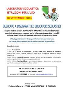 Evento per insegnanti POLIS 30.9.16